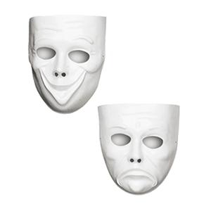 Máscara Branca Triste e Contente em Plástico