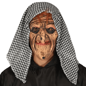 Máscara Bruxa com capuz Látex, Adulto