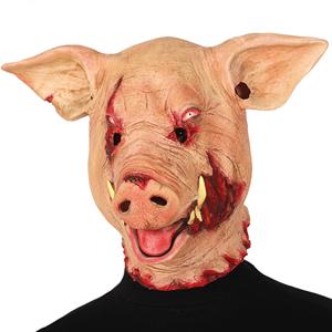Máscara Cabeça de Porco Sangrenta em Latex