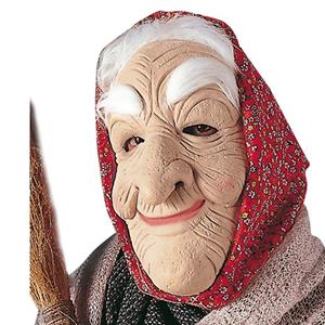 Máscara de Velha em Látex com Lenço Vermelho, Adulto