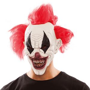 Máscara Látex Palhaço Demoníaco com Cabelo Vermelho