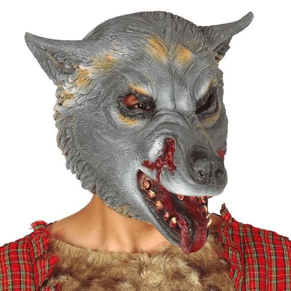 Máscara Lobo Cinzento Látex, Adulto