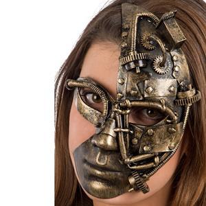 Máscara Meia Face Steampunk Dourada