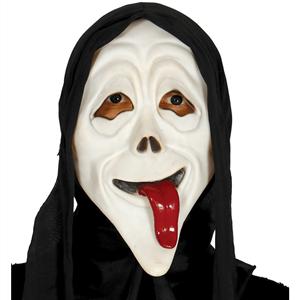 Máscara Scream com Lingua e Capuz em Látex