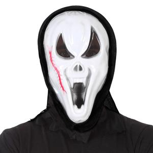 Máscara Sream com Cicatriz e Capuz em Plastico