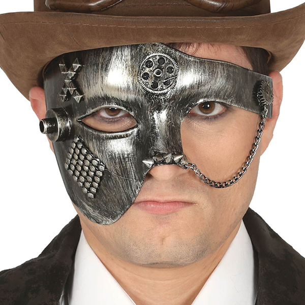 Máscara SteamPunk Prateada em Plástico
