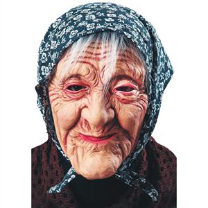 Máscara de Velha com Lenço na Cabeça Látex