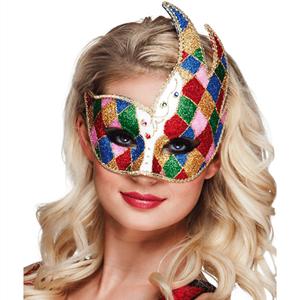 Máscara Veneziana Arlequim Multicor