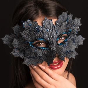 Máscara Veneziana Brilhante Azul