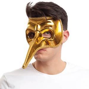 Máscara Veneziana Dourada Nariz Longo