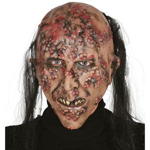 Máscara Zombie Infetado com Cabelo em Látex