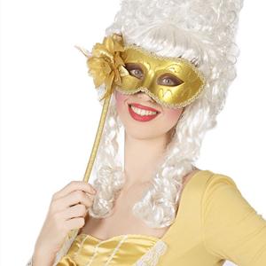 Mascarilha Dourada com Flor e Suporte