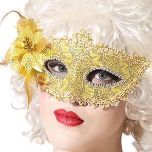 Mascarilha Dourada Veneziana com Flor