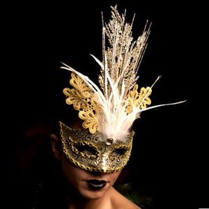 Mascarilha Veneziana Dourada com Glitter