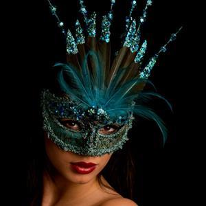 Mascarilha Veneziana Turquesa com Glitter