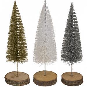 Mini Árvore de Natal com Base em Madeira, 21 cm