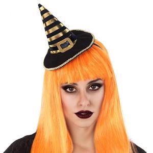 Mini Chapéu de Bruxa Riscas Dourado