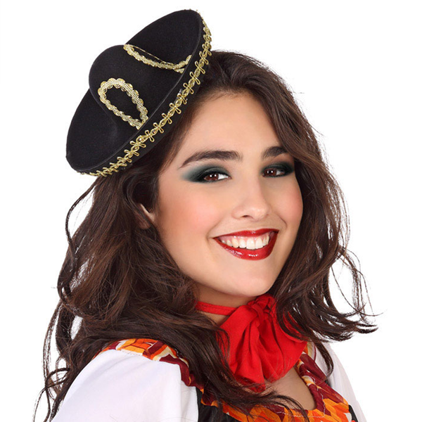Mini Chapéu de Mexicano Preto para Mulher