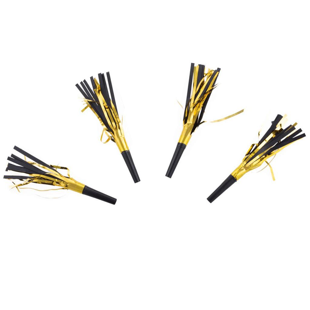 Mini Cornetas Douradas com Franjas, 4 Unid.