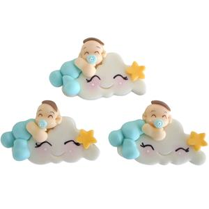 Nuvem com Bebé Azul em Biscuit, 3 unid.