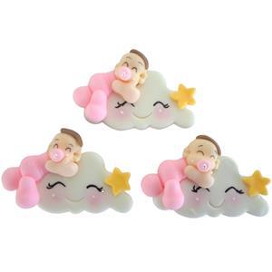 Nuvem com Bebé Rosa em Biscuit, 3 unid.