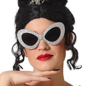 Óculos Anos 50 com Glitter Prateado