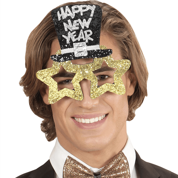 Óculos Dourados Brilhantes Happy New Year