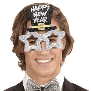 Óculos Prateados Brilhantes Happy New Year