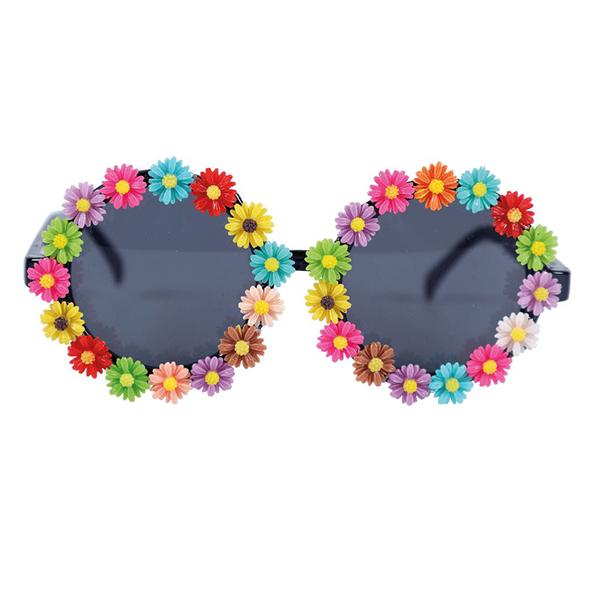 Óculos Redondos com Flores Coloridas
