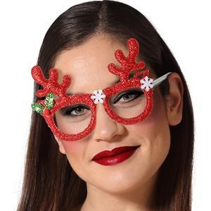 Óculos Rena com Purpurina Vermelha