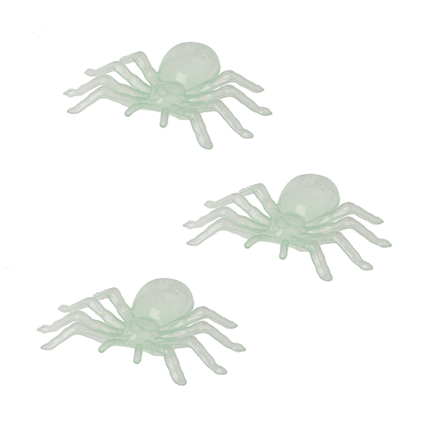 Pack 3 Aranhas Brilham no Escuro, 11 cm