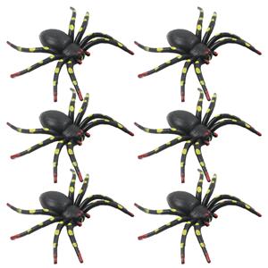 Pack 6 Aranhas Pretas Plástico, 3,5Cm