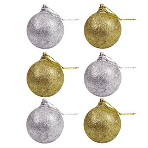 Pack 6 Bolas de Natal Prateadas e Douradas Brilhantes, 5 cm