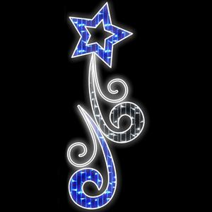 Painel Decorativo Estrela Azul e Branco Frio Led, 200x73cm