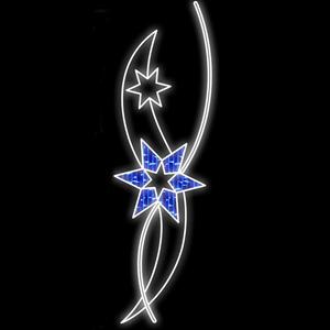 Painel Decorativo LED 200x60cm 2 Estrelas Branco e Azul