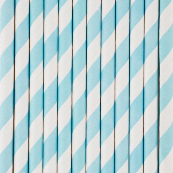 Palhinha Riscas Azul Claro, 10 Unid.