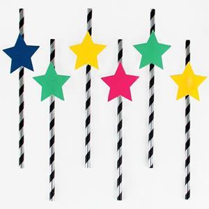 Palhinhas às Riscas Estrelas Disco, 12 unid.