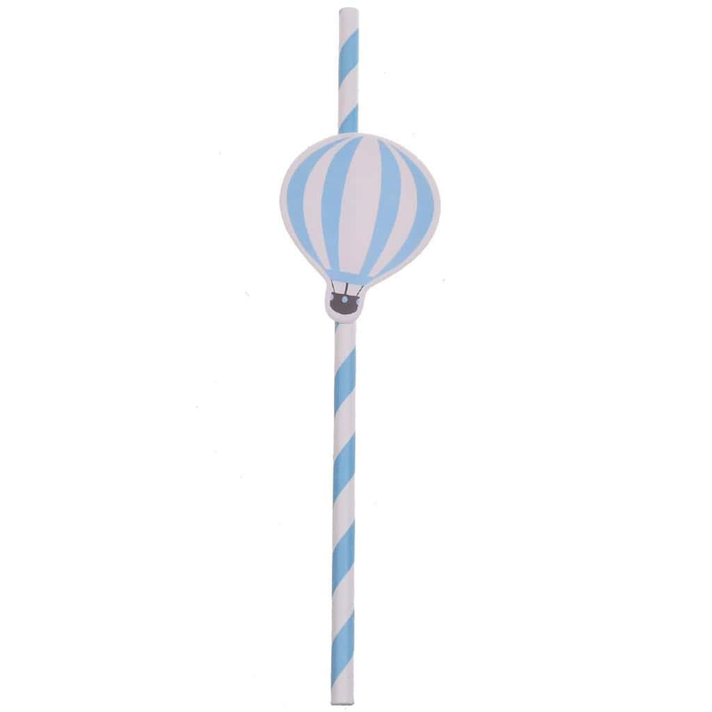 Palhinhas Riscas Azuis e Balão, 6 unid.