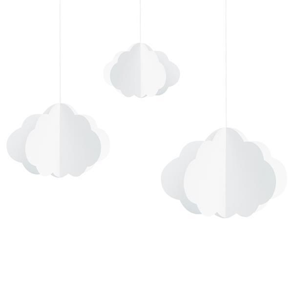 Pêndulos Nuvens Brancas, 3 unid.