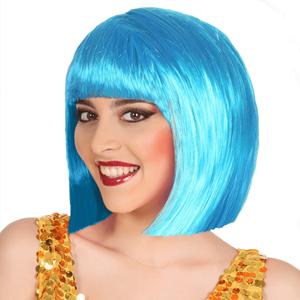 Peruca Azul Curta com Franja