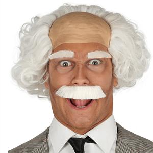 Peruca Branca com Bigode Cientista Einstein