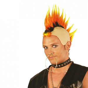Peruca Calva Punk Fogo