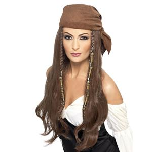 Peruca Castanha Pirata, Adulto