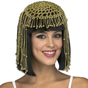 Peruca Cleopatra com Miçangas