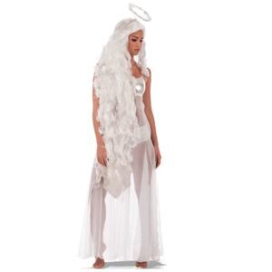 Peruca de Anjo Branca Comprida com Auréola