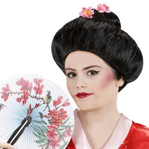 Peruca de Geisha Preta com Flores de Cerejeira