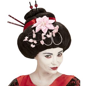 Peruca de Geisha Preta com Flores de Lotus