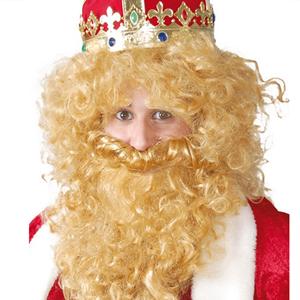 Peruca e Barba de Rei Loira