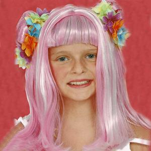 Peruca Rosa com Madeixas Brancas Criança