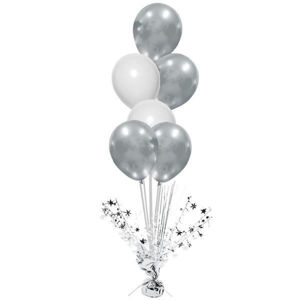 Peso Balões Prateado com Estrelas e Varetas